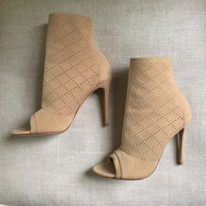 Gianvito Rossi Stretch Bootie Tan Ankle Boot Knit